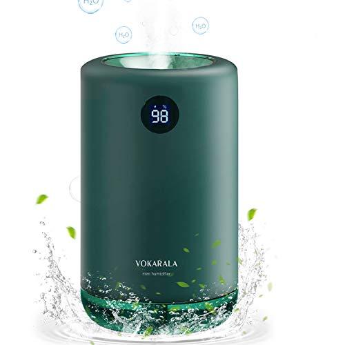 VOKARALA Ultraschall Luftbefeuchter, wiederaufladbarer Mini Humidifier 500ml, 30dB Ultra Leise Raumluftbefeuchter mit automatischer Verriegelung und 2 Wattestäbchen für Schlafzimmer/Büro