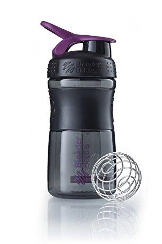 BlenderBottle Sportmixer Tritan Trinkflasche mit BlenderBall, geeignet als Protein Shaker, Eiweißshaker, Wasserflasche oder für Fitness Shakes, BPA frei, skaliert bis 500 ml, 590 ml, lila /schwarz