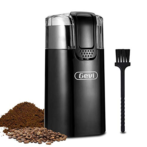 Gevi 150W Stainless Steel Blade Grinder for Coffee Espresso Latte Mochas, Noiseless Operation,Coffee Bean & Spice Grinder with 60g Large Grinding Capacity.