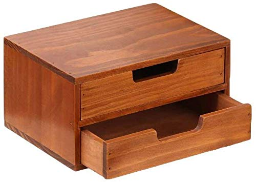Make-up Organizer with 3 Drawers, Square Wooden Drawer Box, Compact Drawer Tower for Make-up and Cosmetics, Storage with Wooden Drawers-Dunkles Holz||4 Stöckig