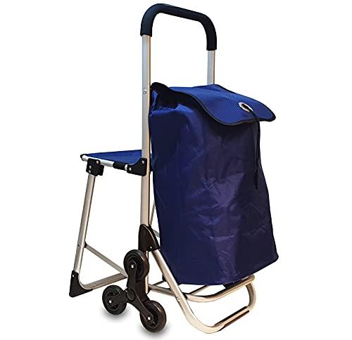 6in1 Einkaufstrolley Treppensteiger Einkaufsroller klappbare Einkaufswagen Faltbarer Einkaufsroller Kühltasche Stuhl Trolley Einkaufshilfe Einkaufskörbe & -Taschen (Blau)