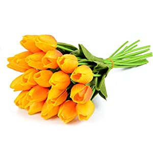 Silk Flower Arrangements HoveBeaty Artificial Tulips Bridal Wedding Festival Decor Bouquet Real Touch PU Flower Bouquet Pack of 20 (Yellow and Red)