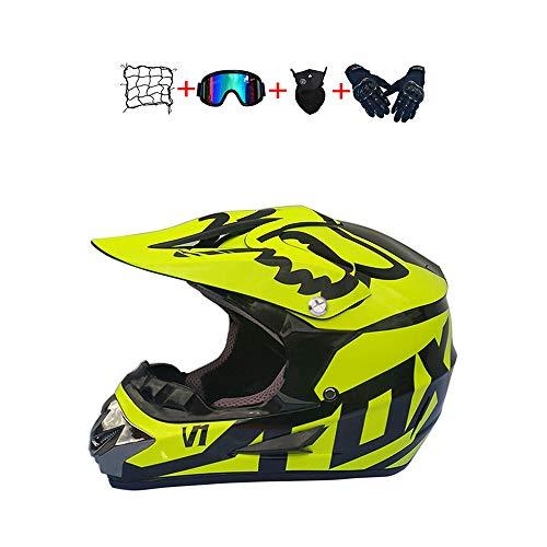 BHGJ Casco Motocross Niño,Diseñado con FOX Cascos De Motocross Cascos de Cross de Moto Set con Gafas Máscara Guantes(FOX,amarillo) (S)