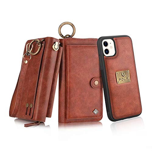 Petocase Compatible iPhone 11 Wallet Case, Multi-Function Zipper Purse with Detachable Magnetic Back Cover Wristlets 13 Card Slots & 4 Cash Pocket for Apple iPhone 11 Brown