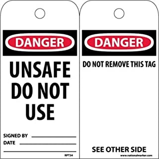 """NMC RPT34 Accident Prevention Tag, """"DANGER UNSAFE DO NOT USE"""", 3"""" Width x 6"""" Height, Unrippable Vinyl, Black/Red on White (Pack of 25)"""