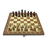 HJUIK Juego de ajedrez 29 cm tablero de ajedrez de madera plegable juego de ajedrez divertido juego internacional juego de ajedrez para fiestas actividades familiares juego de ajedrez