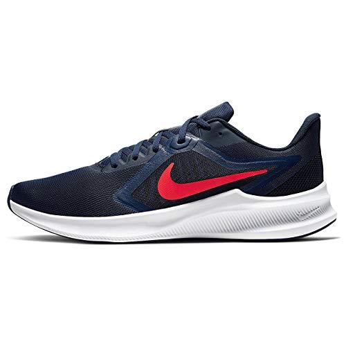 Nike Downshifter 10, Zapatilla de Correr Hombre, Medianoche Navy/Laser Crimson, 40.5 EU