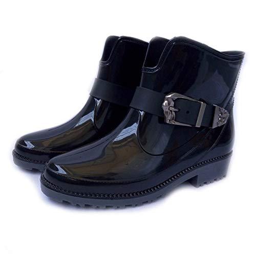YJxiaobaozi Regenlaarzen dames wig waterdichte regenbroek zwart ronde kop metalen gesp met schoenen vrouw vrouw water rubber laarzen gesp armband Botas