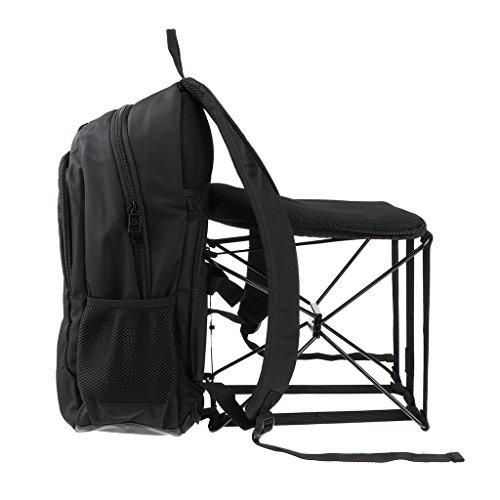 Homyl Outdoor Klappstuhl Angeln Rucksack Stuhl Tragbare Camping Klappstuhl mit großer Kapazität 47L Rucksack für Angeln/Strand/Camping max. 90kg - schwarz