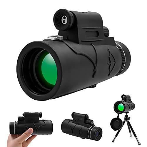 12X50 Monocular Telescope for Adults, HD Monocular with Smartphone Holder & Tripod, Waterproof Weak Light Night Vision Monocular for Bird Watching Hunting Hiking Wildlife Scenery Sports Games