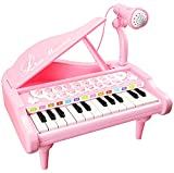 Love&Mini Piano Toy Keyboard for Kids Birthday Gift Age 2+ Pink 24 Keys Toddler Piano Music Toy Instruments with Microphone