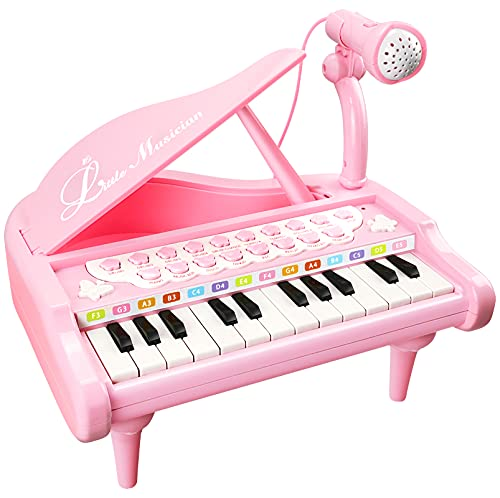 Love&Mini Piano Toy Keyboard for Kids Birthday Gift 3-5 Years 24 Keys Pink Toddler Piano Music Toy Instruments with Microphone