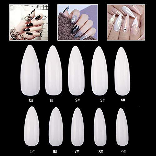 Mwoot 600 Stücke Ballerina Falsche Nägel, Lange Sargform Nägelspitzen, Natürliche Acryl Kunst Französisch Fake Nägel Tipps für Frauen Mädchen, 10 Größen