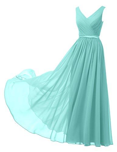 Alicepub A-Linie Chiffon Brautjungfernkleider Abendkleider Lang Ärmellos Ballkleider, Aqua-Blau,...