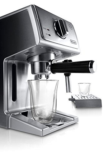 """De'longhi bar pump espresso and cappuccino machine, 15"""", stainless steel 8 15 bar professional pressure assures quality results every time second tier drip tray to accommodate larger cups removable 37 ounce water tank. Full stainless steel housing"""