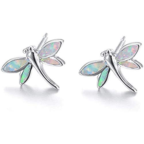 YTO s925 sterling silver + white opal small dragonfly earrings