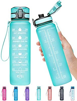 Elvira 32oz Motivational Fitness Sports Water Bottle with Time Marker & Removable Strainer,Fast Flow,Flip Top Leakproof Durable BPA Free Non-Toxic-Mint Green