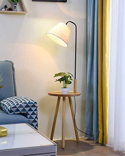 WLGQ Lámparas de pie LED de Madera Modernas nórdicas Accesorio de iluminación Minimalista Pantalla de Tela Lámpara de Noche Lámpara de pie para Salas de Estar Dormitorios Oficina 7W 220V