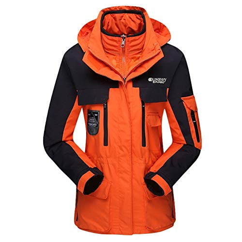 SK Studio Damen 3 in 1 wasserdichte Skijacke Funktionsjacke Warm Winterjacke Winddichte Outdoor Wanderjacke Regenjacke mit Kapuze,Orange,M