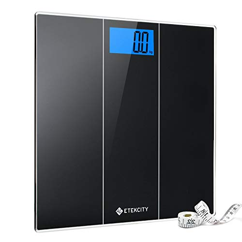Etekcity Digital Body Weight Bathroom Scale with Body Measuring Tape, Ultra Accurate, Large Easy-to-Read Backlit LCD Display, Step-on Technology, 400 lb/180 kg