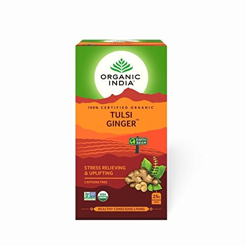 ORGANIC INDIA 25 Tulsi Ginger Tea Bags (Pack of 2)