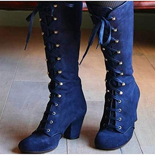 PLAYH Botas De Mujer De Tacón Bajo hasta La Rodilla De Gamuza hasta El Muslo Botas Altas hasta El Tobillo Botas Largas con Cordones Moda Sexy Botas De Tacón Grueso Zapatos con Cordones
