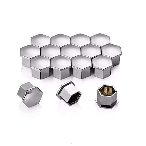 HHF-1 Luopan Accesorios de Coche 16Pcs Tuerca de Rueda del Borde de la Cubierta de neumático Screw Cap Decor for 207 301 307 308 408 508 3008, por C4L C5 C2 (Color : Silver)