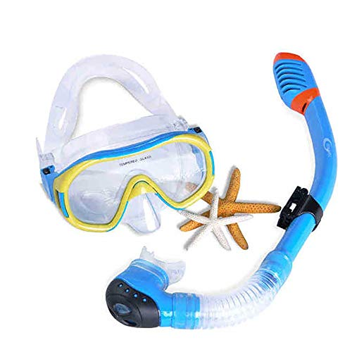 Traje de máscara Durable Kids Snorkel Set, Seco Top Seaview Snorkel Goggle, Anti-Fog Scuba Buceo Gafas Snorkel Equipo for niños 5-12 Adecuado para Snorkeling (Color : Blue, Size : One Size)