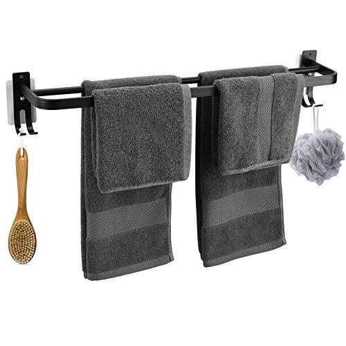 OUTUL Doppelter Handtuchhalter Ohne Bohren, 17 Zoll/43 cm Wand Mounted Space Aluminium Hantuchhalterung Bad mit 2 Haken für Badezimmer Küche, Schwarz