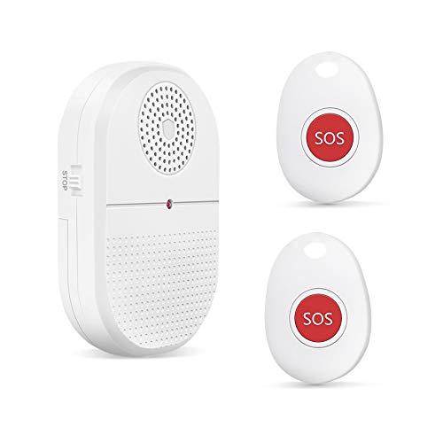 Pulsante di chiamata emergenza per anziani, 1 ricevitore + 2 trasmettitori Caregiver Pager Sistema allarme mobile/campanello wireless alimentato a batteria, chiamate domestica, tasto SOS