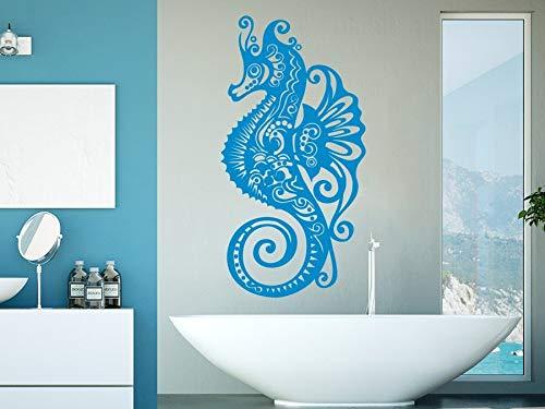 Meerestier Hippocampus Wandtattoo Vinyl Aufkleber Badezimmer Wandmaler mit Indoor Spa Wandtattoo Kindergarten Raumdekoration Wandaufkleber A1 57x111cm