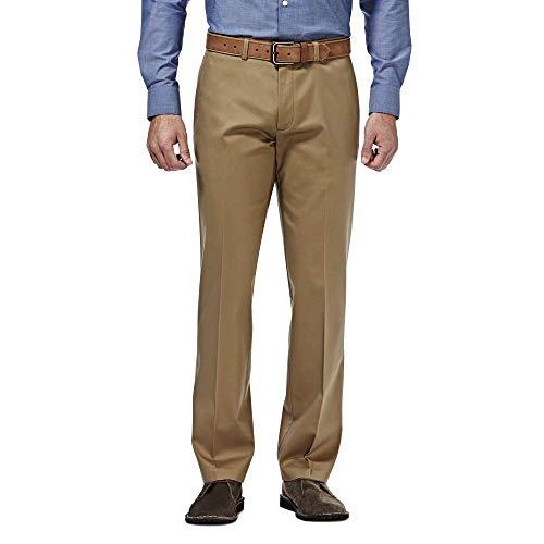 Haggar mens Premium No Iron Khaki Straight Fit Flex Waistband Flat Front Pant, British Khaki, 40x36