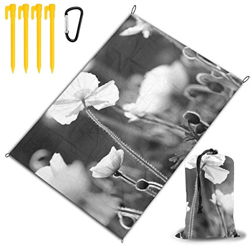 Qichuang - Manta de picnic extragrande para exteriores, manta de playa, manta de picnic de 78 x 57 pulgadas, impermeable, respaldo antiarena, viajes, senderismo, camping, color negro, tamaño tamaño único