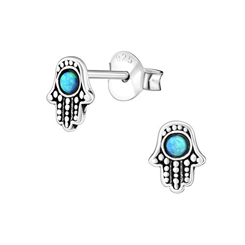 Monkimau Girl Earrings Hamsa Hand Fatima Stud Earrings made of 925 sterling silver real silver with 2 opals