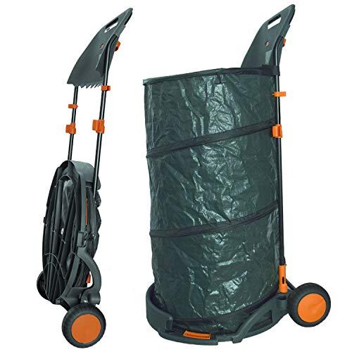 Agora-Tec® Laubsack/Gartensack 160l selbstaufstellend fahrbar mit Rädern und faltbahr inkl. Halterung für Laubbesen und Besen