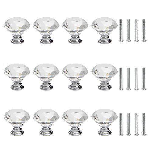 THETHO 12 Piezas Pomo de Cristal con Tornillo Tiradores de Cristal de 30mm Pomo de Diamante de cajón para Armario,cajón,Gabinete,Casa,Oficina