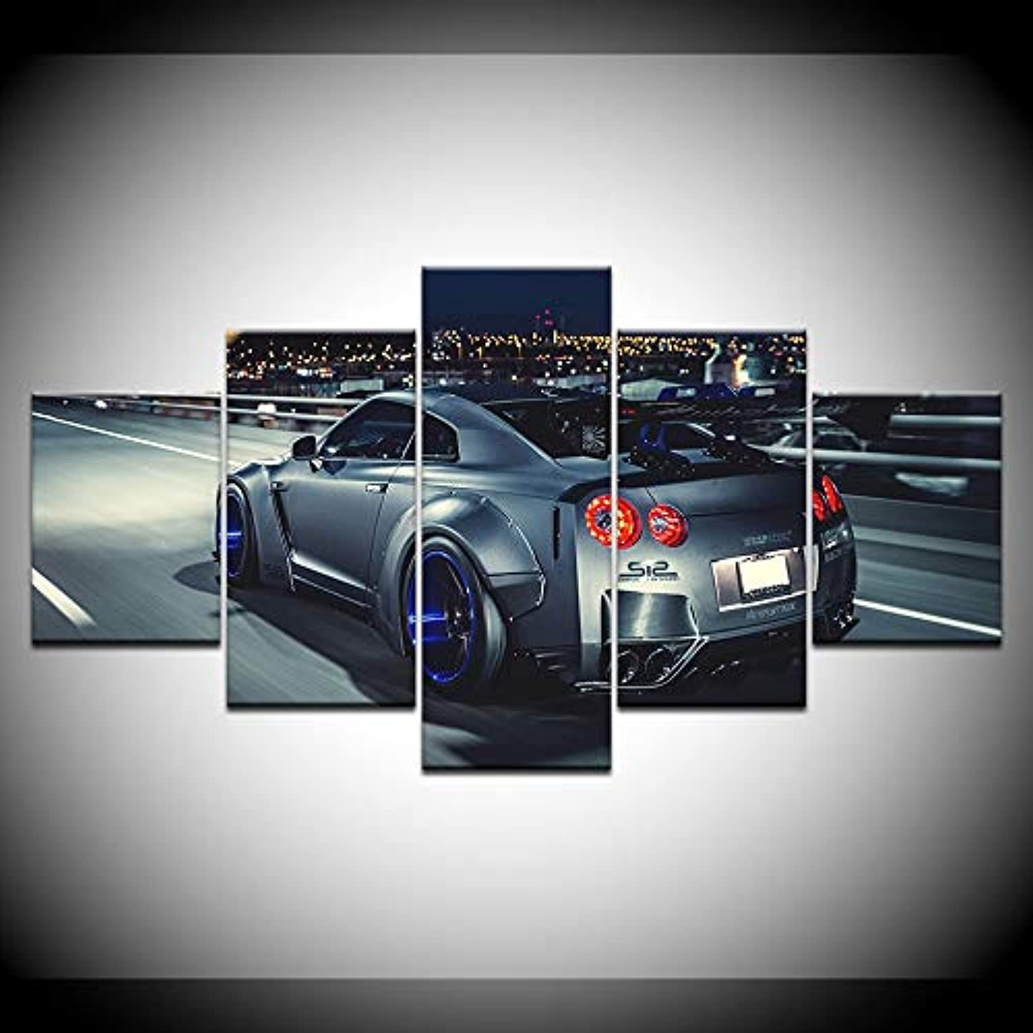 Modular Wall Art Picture Canvas HD Printed Poster Modern Home Decor 5pcs Flashy Nissan GTR Sports Car Painting Frame Artwork