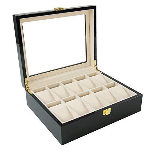 GUOCAO Caja de cristal con 10 ranuras para reloj de joyería, caja de almacenamiento para viajes, pulsera de la serie de exposición, color negro