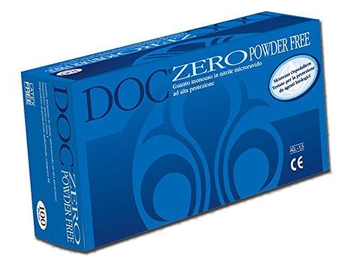 Doc Zero Powder Free Guanti in Nitrile Senza Polvere, Grandi Confezione 100 Pezzi