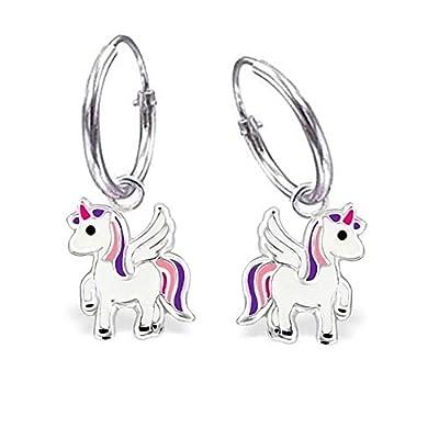 Pendientes de aro con colgante de unicornio en plata de ley 925 pendientes para niñas GH1a
