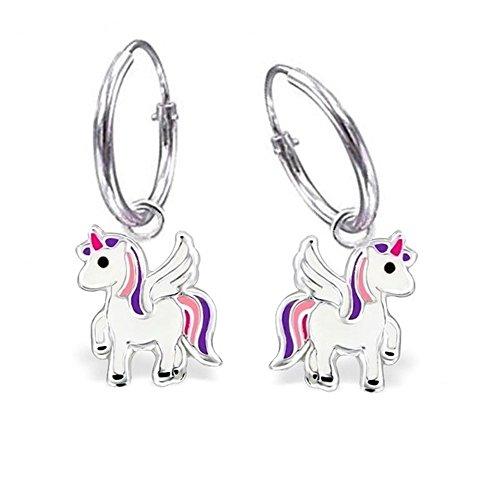 GH1a Einhorn Creolen 925 Echt Silber Mädchen Ohrringe Ohrhänger Pferd