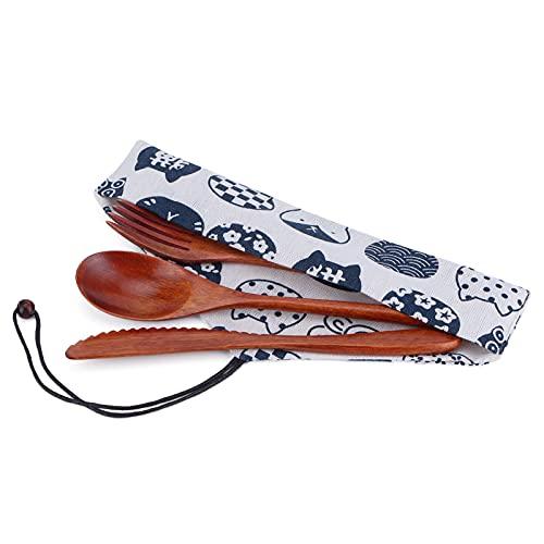 Jinyi Cucharas de Madera, Tenedores, Juego de Cubiertos de Madera portátil con Bolsa para el hogar, la Oficina, para Acampar, Viajes, Picnic