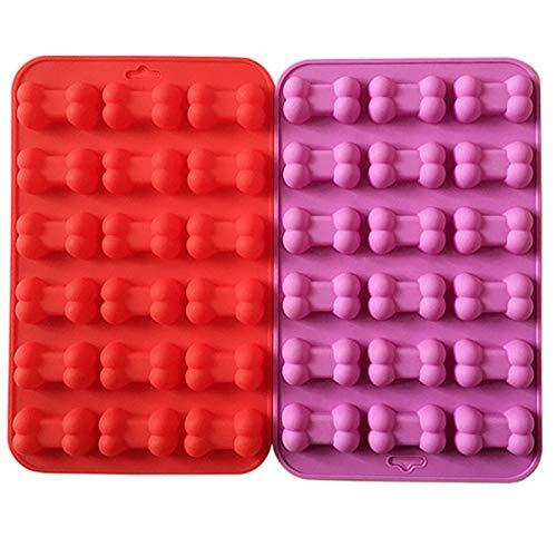 Stampo in Silicone per Dolcetti per Cani Stampi in Silicone a Forma di Osso per Biscotti per Cani, Dolcetti per Cani, Cubetti di Ghiaccio, Stampo per Cioccolato, Stampo per Praline, Rosso, Viola