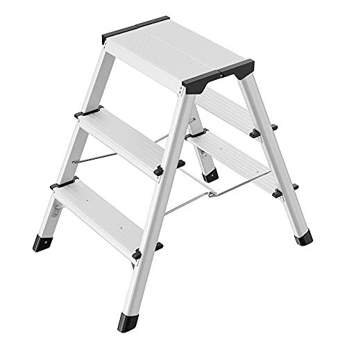 Hailo D60 StandardLine Alu-Klapptritt-Leiter | 2x3 Stufen belastbar bis 150 kg | Trittleiter mit Klappsperre | Füße mit Soft-Grip-Sohle | platzsparend zusammenklappbar | Aluleiter rostfrei | silber