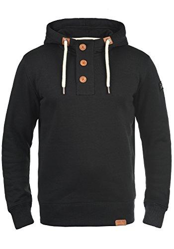 !Solid TripStrip Herren Kapuzenpullover Hoodie Pullover Mit Kapuze Knopfleiste Und Fleece-Innenseite, Größe:L, Farbe:Black (9000)