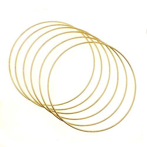 JZK 6 x aros grandes de metal dorado para manualidades de 20 cm de macramé anillos de metal para manualidades de atrapasueños, corona de flores, decoración para colgar en la pared