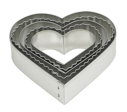 Mrs. Anderson's Baking Cookie and Fondant Cutters Graduated Crinkle Hearts, 5-Piece Set with Storage Tin