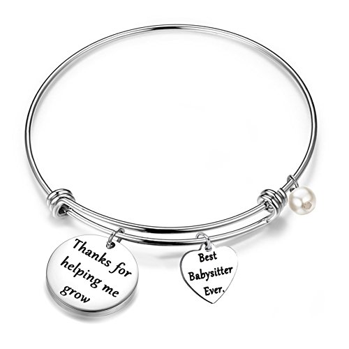 FEELMEM Babysitter Gift Babysitter Bracelet Thanks for Helping Me Grow Expandable Bangle Appreciation Gift (Silver)