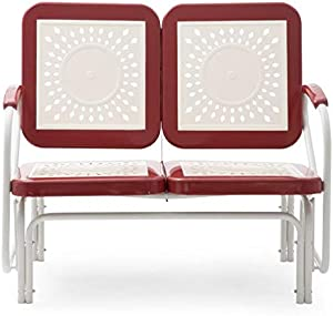 Retro Vintage Style Red White Metal Patio Glider Bench Sofa Settee Outdoor Furniture