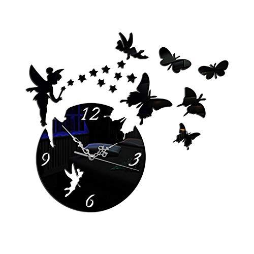 DIY 3D Wanduhren,Schmetterlingssterne Spiegel Aufkleber Wanduhr DIY Wanduhr Modern Design Acryl Wanduhren Wandtattoos Dekoration Uhren für Dekoration Geschenk Nach Hause,Restaurant,Büro und Hotel